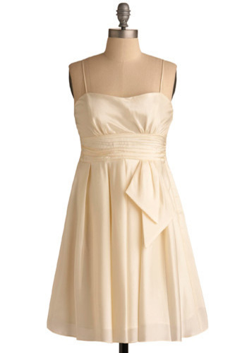Swiss Meringue Dress - Cream, Solid, Pleats, Prom, Wedding, Party, Empire, Spaghetti Straps, Short