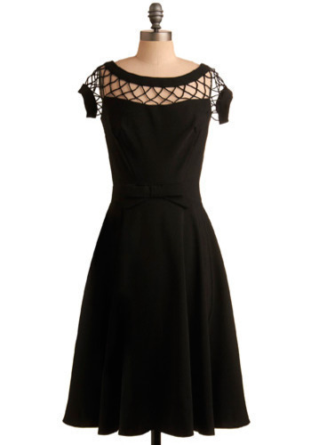 With Only a Wink Dress by Bettie Page - Black, Solid, Bows, Cutout, Formal, Party, Vintage Inspired, A-line, Short Sleeves, Mid-length, Wedding