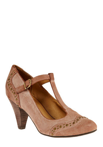 Rose Tea-Strap Heel - Pink, Studs, Casual, Luxe, Mid, Best, T-Strap