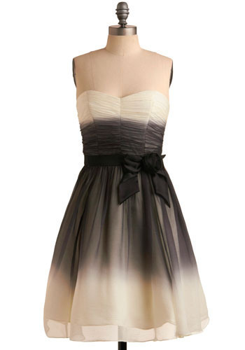 Betsey Johnson Belle of the Barre Dress by Betsey Johnson - Cream, Black, Grey, Bows, Formal, Party, A-line, Strapless, Spaghetti Straps, Long