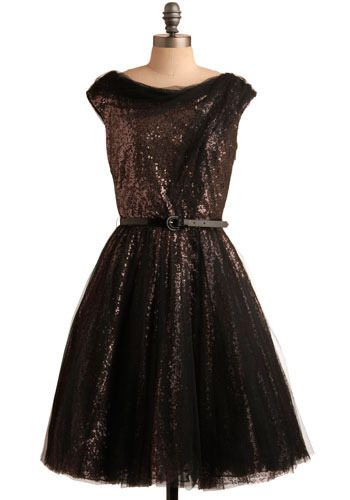 Without Equal Dress - Pink, Black, Sequins, Formal, Party, A-line, Cap Sleeves, Fall, Winter, Long