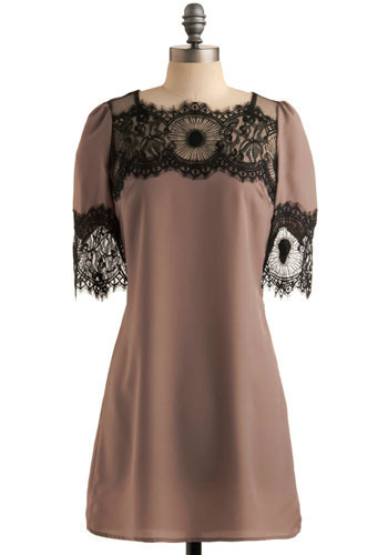 Gary Pepper Dress - Grey, Black, Lace, Party, Sheath / Shift, 3/4 Sleeve, Short