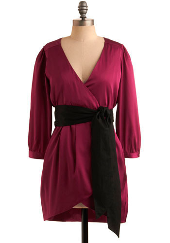 Set the Jewel Tone Dress - Pink, Black, Solid, Bows, Party, Casual, Shift, 3/4 Sleeve, Short