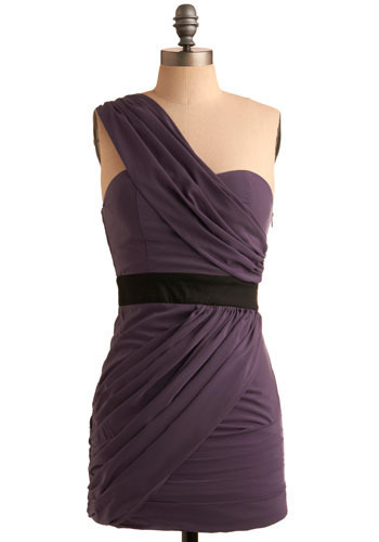 Break Fashion Myths Frock - Purple, Black, Solid, Special Occasion, Prom, Wedding, Party, Mini, Shift, One Shoulder, Short