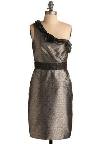 Heirloom Silver Dress by Max and Cleo - Silver, Black, Pleats, Ruffles, Formal, Prom, Wedding, Party, Sheath / Shift, One Shoulder, Mid-length