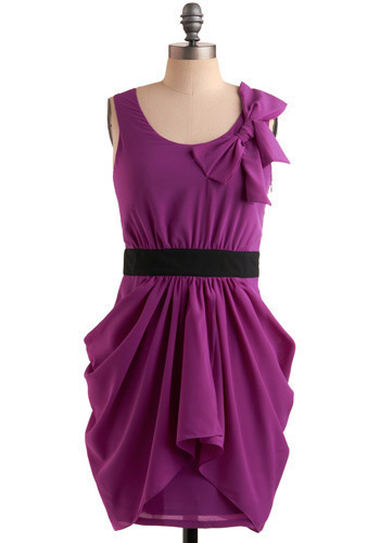 Standout and Deliver Dress - Purple, Solid, Bows, Wedding, Party, Shift, Tank top (2 thick straps), Mid-length