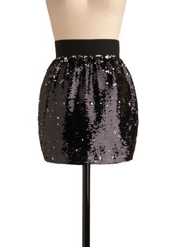 It's In the Stars Skirt - Black, Solid, Sequins, Party, Short