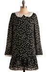Playground Reminiscence Dress - Black, White, Polka Dots, Peter Pan Collar, Casual, Drop Waist, Long Sleeve, Short