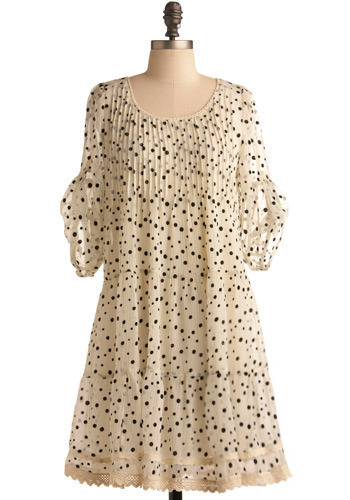 Pearl Milk Tea Dress - Cream, Black, Polka Dots, Lace, Pleats, Ruffles, Casual, Tent / Trapeze, 3/4 Sleeve, Mid-length