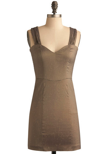 Speed of Light Dress - Gold, Solid, Cutout, Party, Luxe, Sheath / Shift, Tank top (2 thick straps), Short