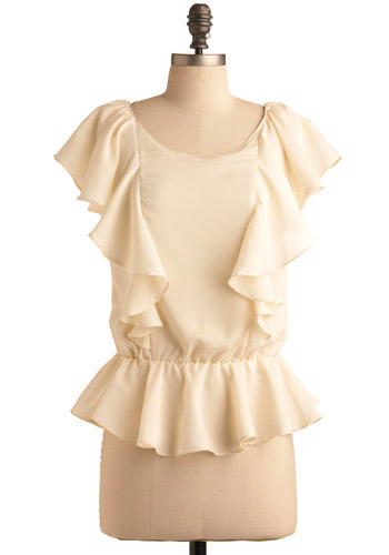 Playing a Duet Top - Cream, Solid, Ruffles, Party, Casual, Short Sleeves, Spring, Summer, Mid-length, Press Placement
