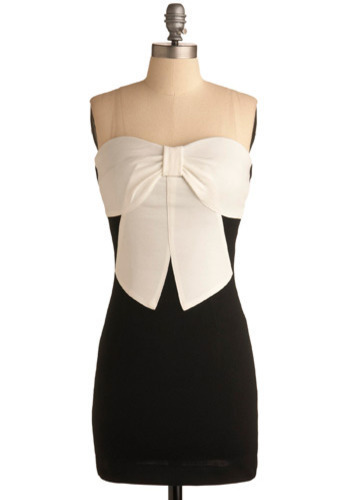 Gift of Glam Dress - Black, White, Bows, Party, Shift, Strapless, Mid-length