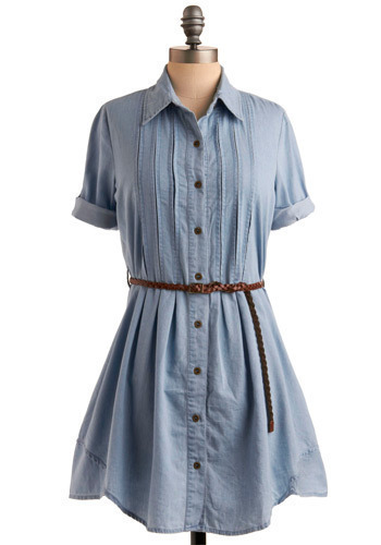 Holidays on the Range Dress - Blue, Solid, Pleats, Casual, Shirt Dress, 3/4 Sleeve, Short