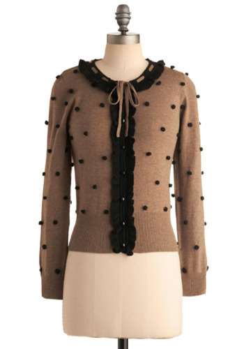 Keeping Pom-Pom-ises Cardigan by Darling - Brown, Black, Polka Dots, Casual, Long Sleeve, Fall, Winter, Mid-length