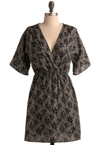 Advice Columnist Dress - Black, White, Floral, Casual, A-line, 3/4 Sleeve, Short