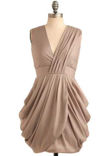 Elegant Speech Dress in Rosy Taupe - Tan, Solid, Pleats, Wedding, Party, Shift, Sleeveless, Short