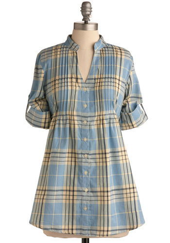 Early Riser Tunic - Blue, Yellow, Plaid, Pleats, Casual, 3/4 Sleeve, Spring, Summer, Fall, Long