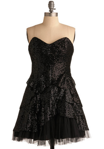 Burnin' Up the Dance Floor Dress - Black, Solid, Sequins, Prom, Party, Empire, Strapless, Mid-length