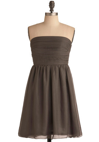 Dancing in the Pleats Dress - Grey, Solid, Pleats, Wedding, Party, Casual, Empire, Strapless, Mid-length