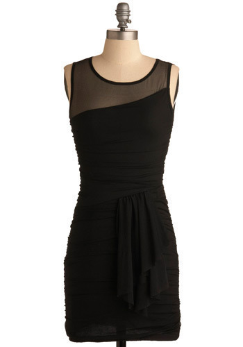 Mesh with Perfection Dress - Black, Solid, Party, Shift, Sleeveless, Tank top (2 thick straps), Mid-length