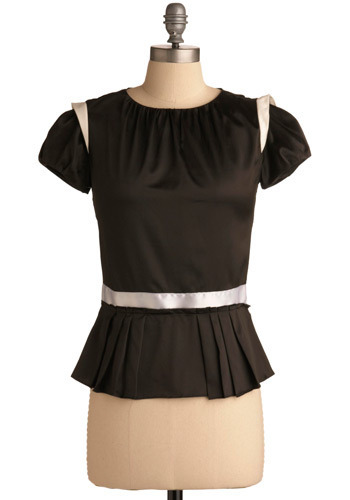 Light Leak Top - Black, White, Pleats, Formal, Short Sleeves, Mid-length