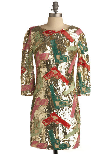 High Caliber Dress - Gold, Red, Green, Pink, Sequins, Party, Sheath / Shift, 3/4 Sleeve, Short
