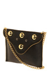 This Is Zip Shoulder Bag - Black, Gold, Chain, Studs, Party, Statement