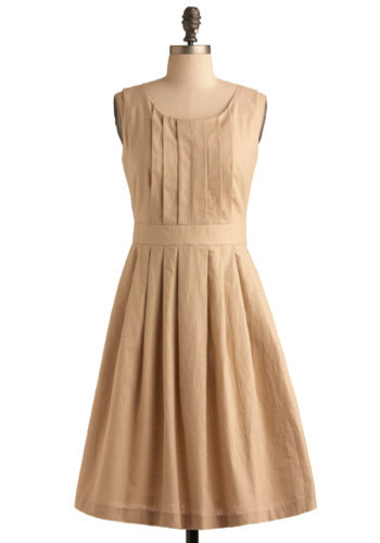 Natural Wonder Dress - Tan, Solid, Pleats, Work, Casual, A-line, Sleeveless, Summer, Fall, Long