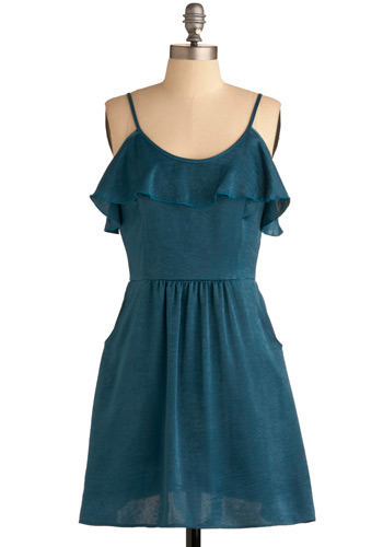 Get to Know You Dress in Teal - Blue, Solid, Ruffles, Casual, A-line, Spaghetti Straps, Short
