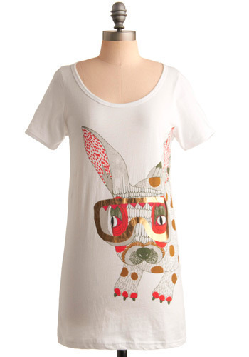 André Amp-hare Tee by Nümph - White, Red, Orange, Green, Grey, Gold, Print with Animals, Casual, Short Sleeves, Spring, Summer, Long