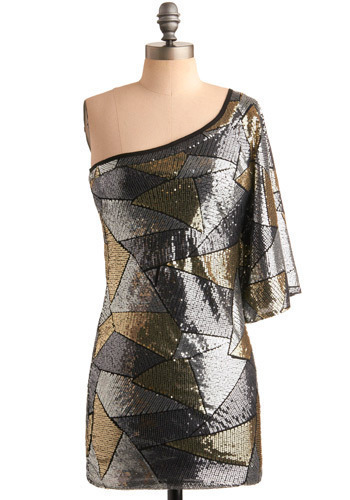 Cover Charge Dress - Silver, Gold, Print, Sequins, Party, Sheath / Shift, One Shoulder, Short