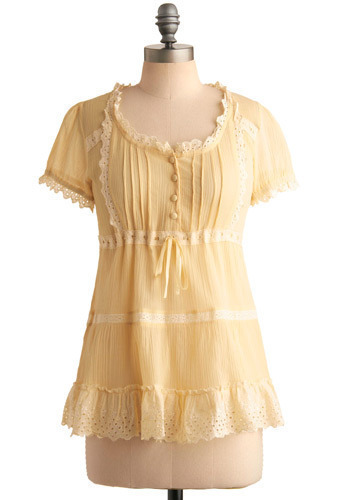 Creamy Lemon Tart Top - Yellow, Tan / Cream, Embroidery, Eyelet, Casual, Long Sleeve, Spring, Summer, Mid-length