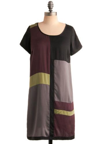Contemporary Dress - Purple, Black, Green, Casual, Sack, Short Sleeves, Short