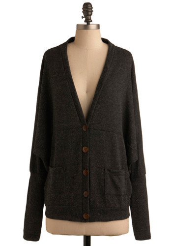 Woman About Town Cardigan - Grey, Solid, Casual, Long Sleeve, Fall, Winter, Mid-length