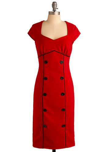 Fiery Personality Frock - Red, Black, Solid, Buttons, Wedding, Party, Sheath / Shift, Cap Sleeves, Long