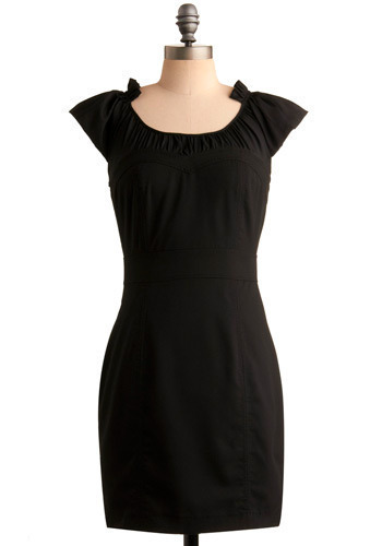 Capitalizing on Classic Dress - Black, Solid, Bows, Party, Casual, Sheath / Shift, Cap Sleeves, Short