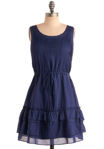 Adventure Abroad Dress - Blue, Solid, Cutout, Pleats, Ruffles, Casual, A-line, Sleeveless, Spring, Summer, Short