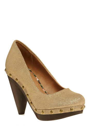 Cloak and Dagger Heel by Seychelles - Gold, Solid, Studs, Party, Casual, Luxe