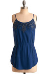 See and Bead Seen Tank - Blue, Solid, Beads, Casual, Spaghetti Straps, Mid-length