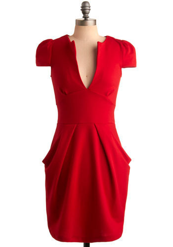 Burning Desire Dress - Red, Solid, Party, Sheath / Shift, Short Sleeves, Mid-length
