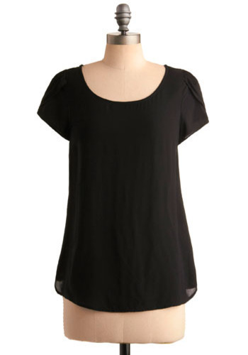 You Are Dazzling Top - Black, Solid, Party, Casual, Short Sleeves, Spring, Summer, Mid-length