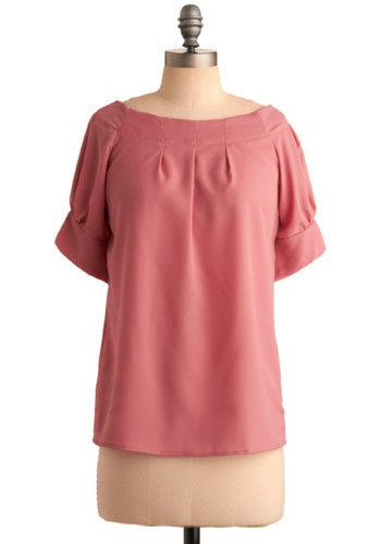 Raspberry Sorbet Top - Pink, Solid, Pleats, Party, Casual, Short Sleeves, Short
