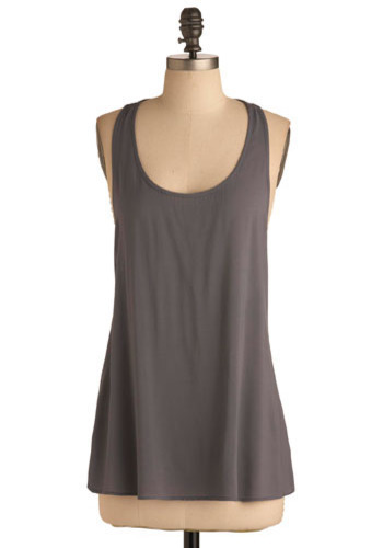 Style Grey-tness Top - Grey, Solid, Casual, Tank top (2 thick straps), Racerback, Summer, Mid-length