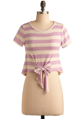 Recess Time Top - Pink, Tan / Cream, Stripes, Casual, Short Sleeves, Spring, Summer, Short