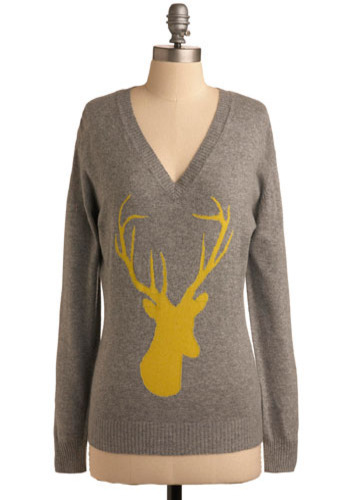 Oh, Deer Sweater - Grey, Yellow, Print with Animals, Casual, Long Sleeve, Fall, Winter, Mid-length