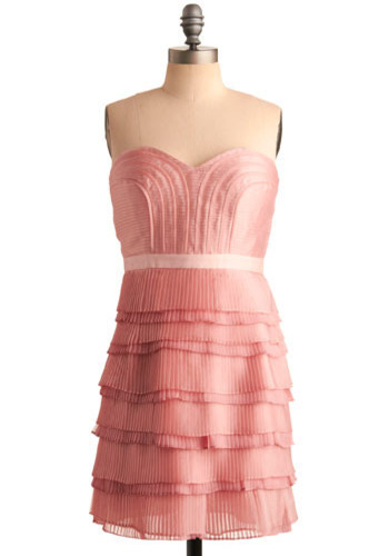 Romantic Incarnation Dress - Pink, Pleats, Formal, Prom, Wedding, Party, Luxe, Empire, Strapless, Short