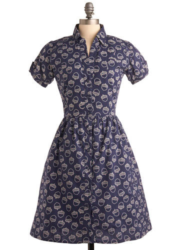 Acorn-ucopia Dress - Blue, Tan / Cream, Print, Casual, A-line, Short Sleeves, Long