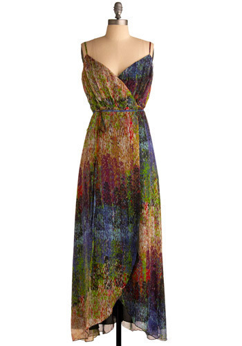 Make a Dash For Dress - Multi, Print, Casual, Maxi, Spaghetti Straps, Spring, Summer, Long, Press Placement