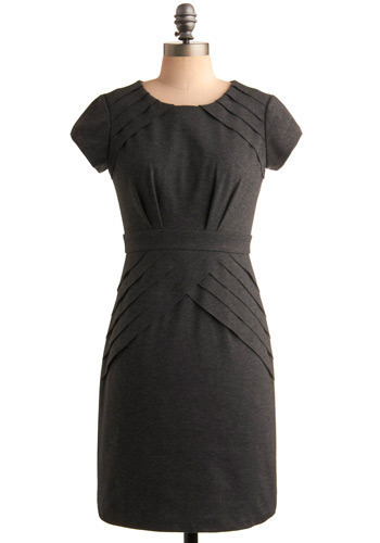Dinner Date Dress - Grey, Solid, Pleats, Work, Casual, Shift, Short Sleeves, Mid-length