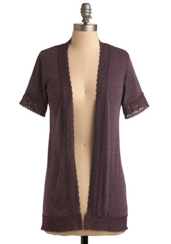 Soft Spoken Cardigan - Purple, Solid, Crochet, Short Sleeves, Long